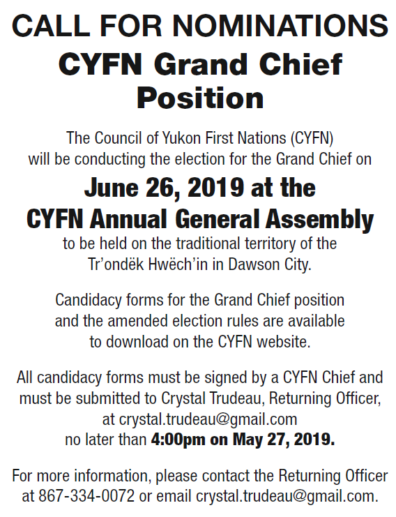 Call for Nominations – CYFN Grand Chief